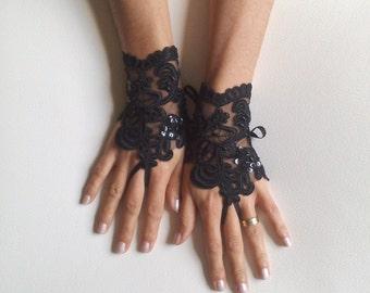 Glove Goth Wedding Gloves, Black Lace gloves, Fingerless Gloves, Black wedding, off cuffs, cuff wedding,  bridal gloves, Bridal cuffs 248