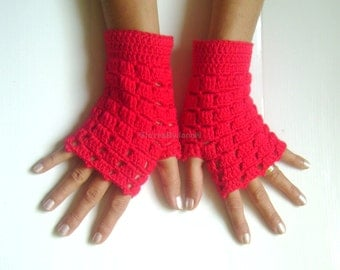 Fingerless gloves  red crochet  gloves cozy gloves wool gloves free shipping