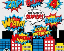 Superheroes Pop Art Text and Bubbles Clipart / Super hero Text and bubbles digital clip art / Superhero photobooth props