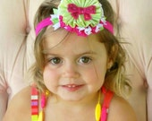 Hot Pink and Green Fabric Flower Ribbon Boutique Girl Headband HairBows