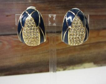Signed Ciner Earrings Art Deco Statement Earrings Designer 80s Pave Diamond Rhinestone and Navy Blue Enamal Gold Clip On Huge Earrings