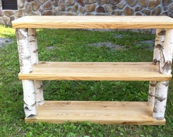 Birch Wood Three Shelf Display