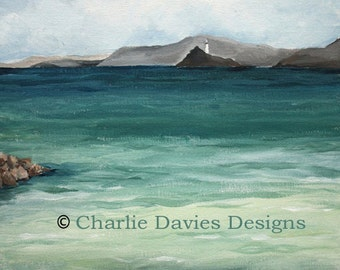 St Ives seascape with lighthouse and rocks Giclee Print