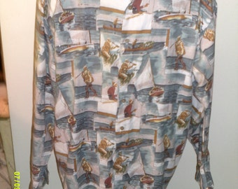Mens Vintage Cotton Sportsman Print Shirt, size Large, by Ruff Hewn, Made in USA