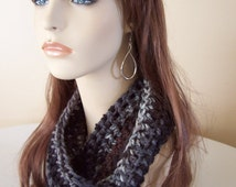 Chunky Mini Cowl in Ashes - Fall, Winter Cowl - Black, Grey, Brown, Ombre