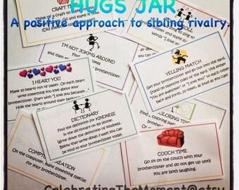 HUGS JAR, Positive Approach to Sibling Rivalry, Downloadable, Printable, Parenting Resource, siblings, discipline