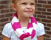 Fuchsia and White Stripe Toddler Infinity Scarf