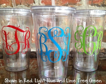 Vine Monogram Acrylic Tumbler 16 ounce / Bridesmaid Gift / Wedding Party / Mother's Day / Birthday Gift