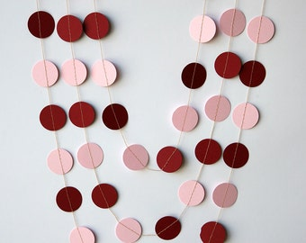 Wedding garland, Red cherry and pink paper garland, Wedding decorations, Bridal shower decor, Wedding decor, Paper garland
