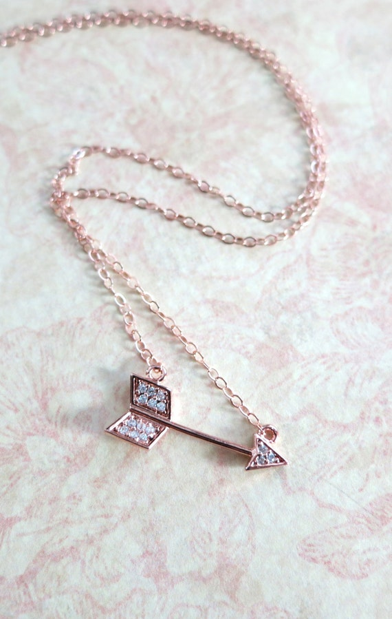 Arrow necklace - Cubic Zirconia, rose gold filled necklace, arrow pendant, edgy, chic, fun, celebrity inspired, on the mark - N0025RG