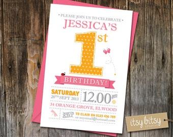 PRINTABLE 1st Birthday Invitation - 1st Birthday Party 6x4 or 5x7