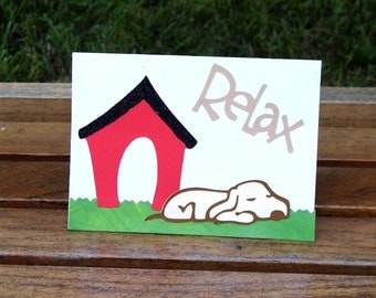 Relax Blank Dog Card