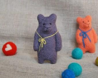 Felt Animal, Felted Bear Brooch, Purple Bear Brooch, Handmade Brooch, Needle  Felted Bear