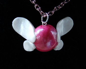 Legend of Zelda Inspired-Pink Navi Polymer Clay Charm Necklace