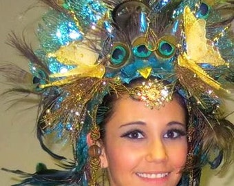 Peacock Queen Teal Goddess Showgirl Wedding Drag Burlesque Headdress Headpiece