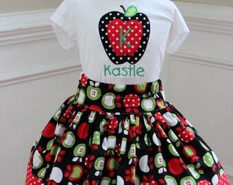 apple outfit apple skirt apple shirt apple top red apple green apple fall outfit for girls toddler polka dot mongrammed shirt birthday set