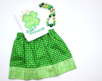 girls St Patricks Day outfit St Patricks Day shamrock skirt set Irish Princess skirt set gold green clothing girl toddler baby st patricks