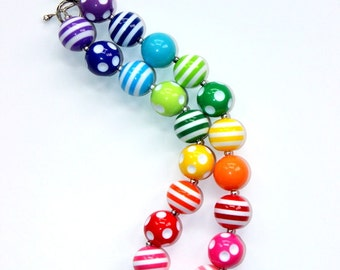 girls rainbow chunky necklace birthday bubblegum necklace summer rainbow chunky bubblegum bead necklace rainbow necklace girls necklace