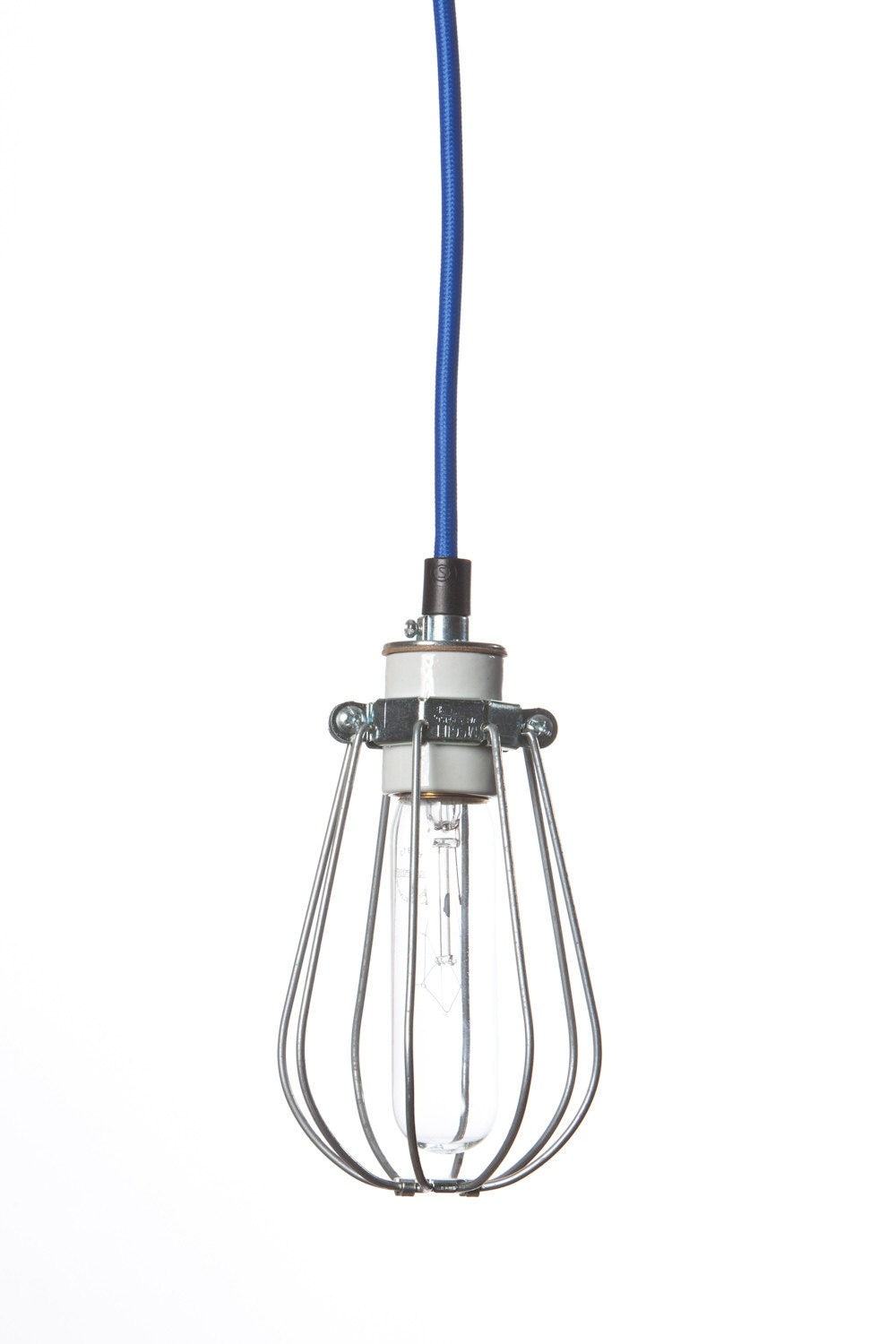 industrial lighting wire cage light color cord by indlights