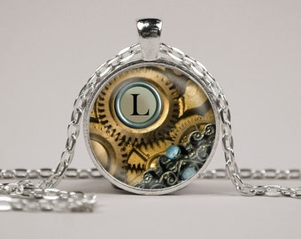 Monogram Steampunk Gear Pendant Necklace or Keyring Glass Art Print Jewelry Charm Gifts for Her or Him Alphabet Personalized Initial Letter