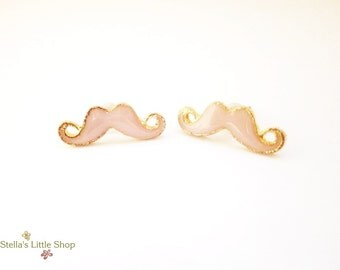 Mustache Stud Earrings, Pink Earrings