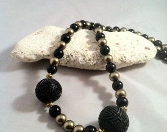 Cinnabar Black & Gold/Black Cinnabar Necklace/Statement Necklace