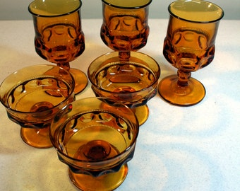 Amber Tiara Kings Crown glassware-3 goblets-3 sherbets-vintage pressed glass-thumbprint