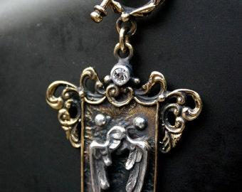 Angel Wings Bronze Shield Pendant
