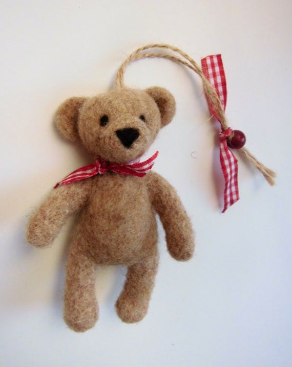 Ready to ship Teddy bear ornament, christmas ornament, christmas decoration, needle felted teddy, felted animal, babys first ornament