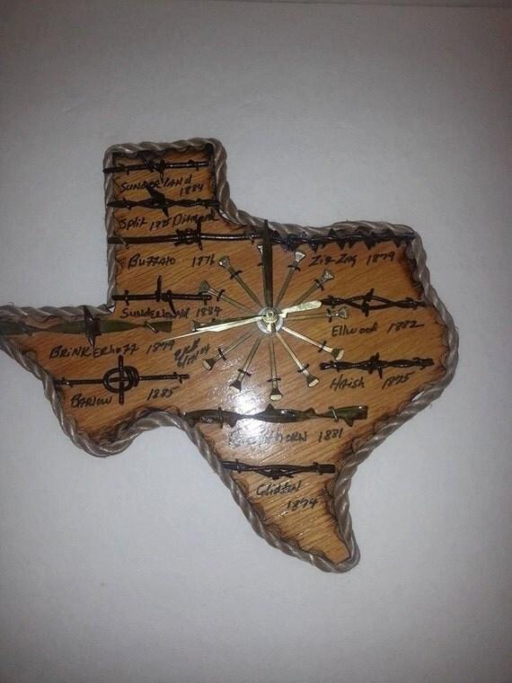 Western Texas State Barbed Wire Clock By Rosieshut On Etsy