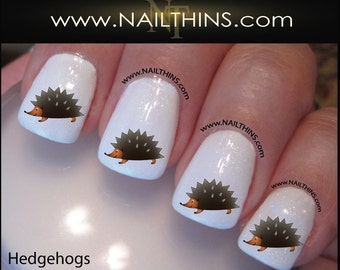 Hedgehog Nail Decal Hedgie nailwrap designs by NAILTHINS