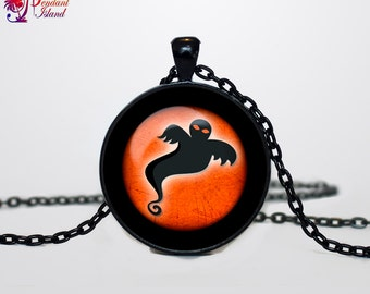 Ghost necklace Ghost pendant Ghost necklace Ghost jewelry Trick or Treat Halloween Pendant Halloween  jewelry black orange