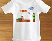Super Mario Brothers Bros. Bodysuit Shirt 8 Bit Retro One Piece for Baby