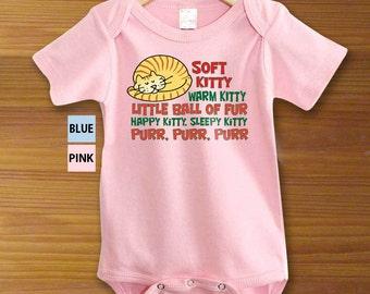 Soft Kitty Warm Kitty Little Ball of Fur Funny One Piece Bodysuit Shirt