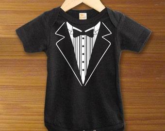 Black Tuxedo Infant Baby Bodysuit or Shirt Tux