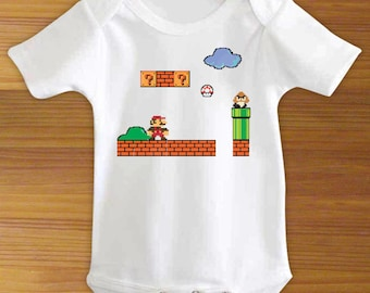 Super Mario Brothers Bros. Bodysuit Shirt 8 Bit Retro One Piece for Baby