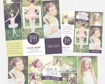 Back to School Marketing Templates for Photographers - Mini Session Flyer, Blog Board, & Facebook Timeline - B02