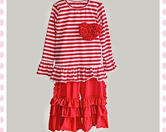 Red and White Stripe Ruffle Pant and Shirt Set w/ Chiffon Rosette Heart for 6-7yrs Girls!!!