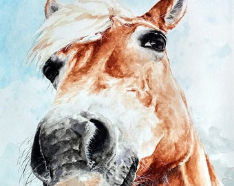 WATERCOLOR HORSE PAINTING - horse art, equestrian decor, horse wall art, farm decor, barn art, horse print, animal art