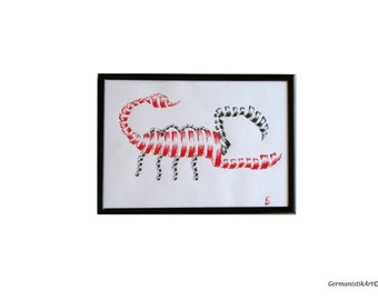 Scorpio Red Black Ink Illustration Wall Hanging, Original Zodiac Drawing, Fine Art Illustration, Home Decoration, Art Painting
