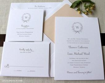 Classic Wreath Wedding Invitation, Holiday Wedding Invitation, Christmas Wedding Invitation