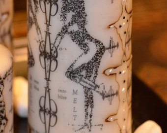 Black and White Sketch Art Candle with Beading and Words ~ Melt into Bliss on Candle by Deprise