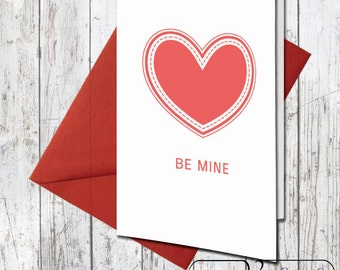 Instant Download Valentine's Day Card - Be Mine