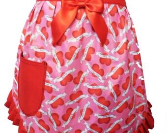 love hearts half apron