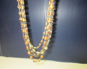 Vintage Fun 5  Strand Amber Beaded Necklace