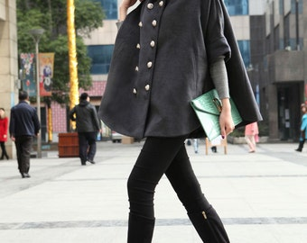 Plus Size Cape Wool Coat Double Breasted Woolen Women Coats Gray Outerwear Custom Made-WH073 M,L