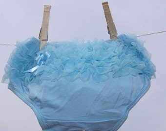 Ruffle Baby Bloomers, Blue Baby Bloomers,  Diaper Cover, Photo Prop Bloomers, Baby Bloomers, Ruffle Diaper Cover