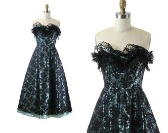 SALE 1980s Prom Dress / Teal Lace Illusion Overlay /  Strapless Lace Prom Dress 50s Style / Mindy Dress