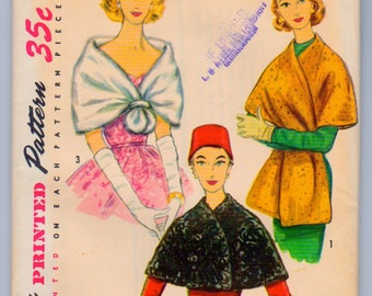 Simplicity 1755 Vintage 1950s Cape, Shawl, Stole Sewing Pattern Size Medium UNCUT Dated 1956