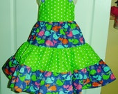 Huge Clearance Sale! Boutique Girly Girl Dress, twirly tiers of apple green and white polka dots. 3T adjustable jumper.
